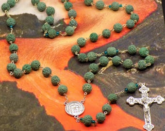 Teal Lava Rock Rosary - Teal Lava Rock Stone Beads - Teal Accent Beads - Italian Silver Holy Face Center - Italian Eucharistic Crucifix