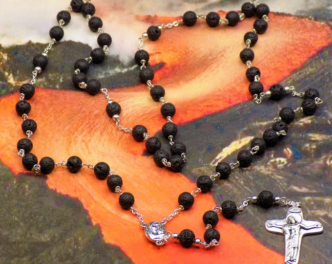Black Lava Rock Rosary -Black Lava Rock Gemstone Beads-Father Accent Caps-Mary with Jerusalem Earth Center-Italian Sorrowful Mother Crucifix