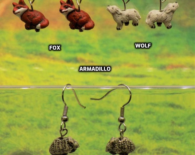 Fox, Wolf and Armadillo 3D Earrings - Fox Ceramic Earrings - Wolf Ceramic Earrings - Armadillo Ceramic Earrings