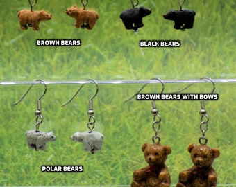 Bear Earrings - Brown Bears Ceramic - Black Bears Ceramic - Polar Bears Ceramic - Brown Bear with Bow Resin