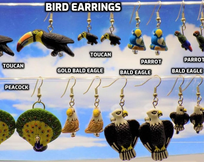 Bird Earrings - Toucan (2 Sizes) - Parrot (2 Styles)  - Peacock - Gold Bald Eagle - Bald Eagle (2 Sizes) - 9 Different to Choose From