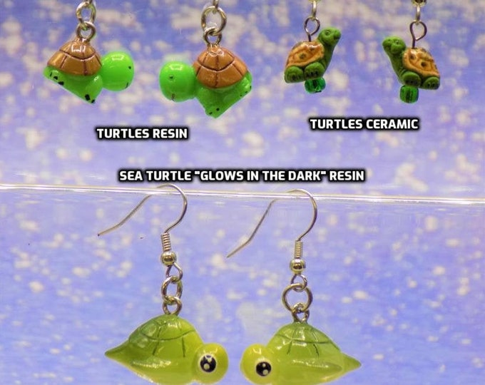 "Turtle Earrings - Sea Turtles ""Glow in the Dark""  - Light Green Turtles - Green Turtles - 3 Different Styles to Choose From"
