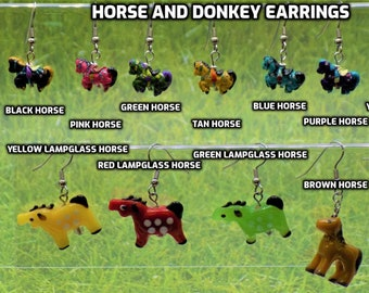 Horse and Donkey Earrings -Ceramic Black, Pink, Green, Tan, Blue,Purple,Yellow, Horses - Glass Red,Green,Yellow Horses, Brown Horse & Donkey