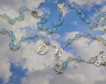 Guardian & Archangel Rosary - Semi Precious Moonstone Opal Beads - Angel Wings - Italian Guardian Angel Center-Italian Eucharistic Crucifix