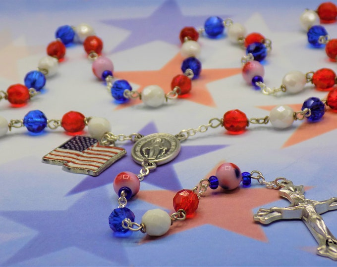 USA Rosary - Czech Blue, White & Red Glass Beads - Glass Round Flag Father Beads - Mary with Jerusalem Soil Center - Italian Flare Crucifix