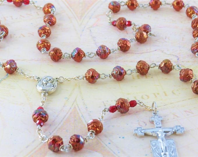 Czech Siam Ruby Bronze Rosebud Rosary - Czech Siam Ruby Bronze Rosebud Beads - Mary Center with Earth from Jerusalem-Italian Angels Crucifix