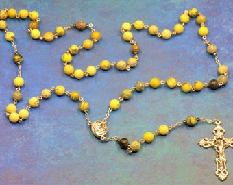 Turquoise Rosary - Semi Precious Yellow Turquoise 8mm Beads - Mary Center that Contains Soil from Jerusalem - Italian Silver Crucifix Rosary