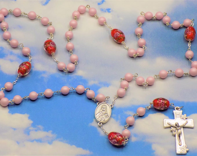 Easter Egg Rosary - Swarovski Pastel Pink Pearl Beads - Lamp Glass Red Egg Beads - Italian St. Therese Flower Center - Italian Lily Crucifix
