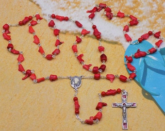 Natural Coral Rosary - Natural Coral Branch Beads - Natural Coral Round Accent Beads - Fatima Center with Soil  - Italian Roses Crucifix
