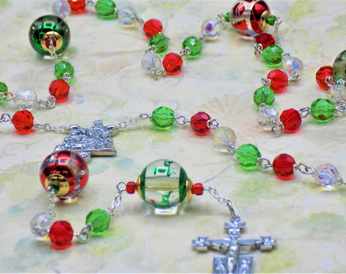 Christmas Rosary - Czech Green, Red & AB Clear Glass Beads - Christmas Bead Father Beads - Italian Nativity Center - Italian Angel Crucifix