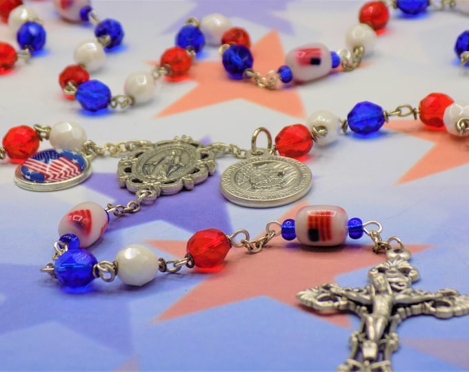 USA Rosary - Czech Red, White and Blue Crystal Beads - Glass Flag Father Beads - Italian Immaculate Mary Center - Italian Filigree Crucifix