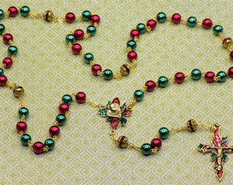 Christmas Poinsettia Rosaries - Red and Green Glass Pearl Beads - Gold or Silver Plated Pewter Christmas Poinsettia Centers & Crucifixes