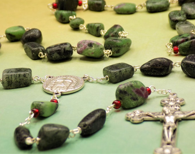 Ruby in Zoisite Rosary - Semi Precious Ruby in Zoisite 7-16mm Nugget Beads - Italian Silver Holy Face Center - Italian Eucharistic Crucifix