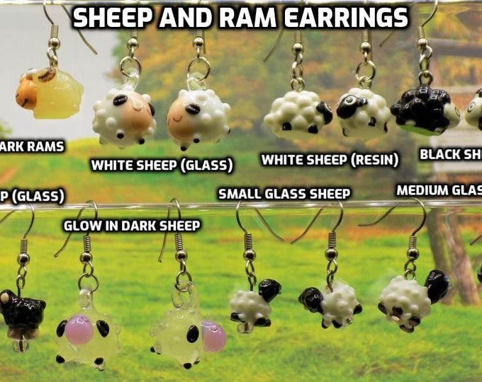Sheep & Ram Earrings - White Glass Sheep - White Resin Sheep - Black Sheep (2) - White Glass Sheep (2) - Glow in Dark Glass: Sheep or Ram