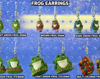 Frog Earrings - Light Green, Brown & Dark Green 10mm Frogs - Light Green Frogs (2) - Multi Color Frogs - 6 Different Styles to Choose From