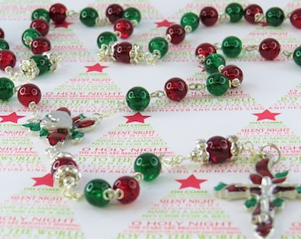 Christmas Poinsettia Rosary - Red and Green Crackle Glass Beads - Austrian Rhinestone Father Beads - Christmas Poinsettia Center & Crucifix