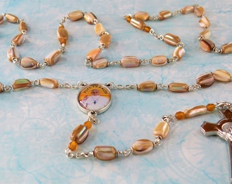 Gold Sea Shell Rosary - Natural Gold Sea Shell Nugget Beads - Czech Gold Crystal Beads - Italian Pope Francis Center - St Benedict Crucifix
