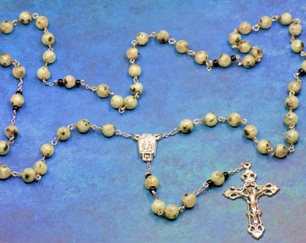 Kiwi Sesame Jasper Rosary - Semi Precious Kiwi Sesame Jasper 8mm Beads - Water from Fatima, Portugal Center - Italian Silver Crucifix Rosary