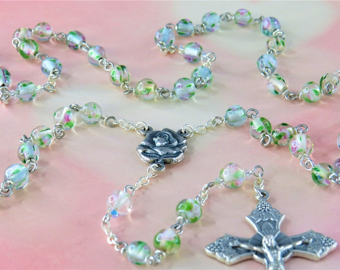 Flower Design Lamp Glass Rosary - Clear Round Flower Design Lamp Glass Beads -  Swarovski Beads - Rose Mary Center - Grapes & Vine Crucifix