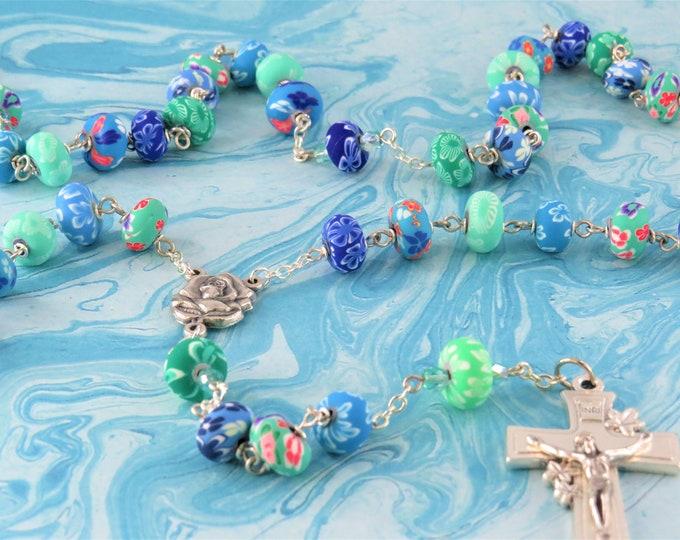 Hawaiian Flower Rosary - Blue & Green Hawaiian Flower Polymer Clay 6x10mm Beads - Italian Silver Rose Center -Italian Silver Flower Crucifix