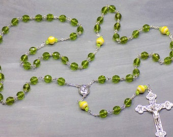 Tennis Ball Rosary - Czech 8mm Green Glass Beads - Ceramic Tennis Balls - Mary-Child Center with Soil from Jerusalem -  Eucharistic Crucifix