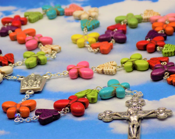 Stone Butterfly Rosary - Multi Color Stone Butterfly Beads - Italian Silver Our Lady of Fatima Center - Italian Silver Eucharistic Crucifix