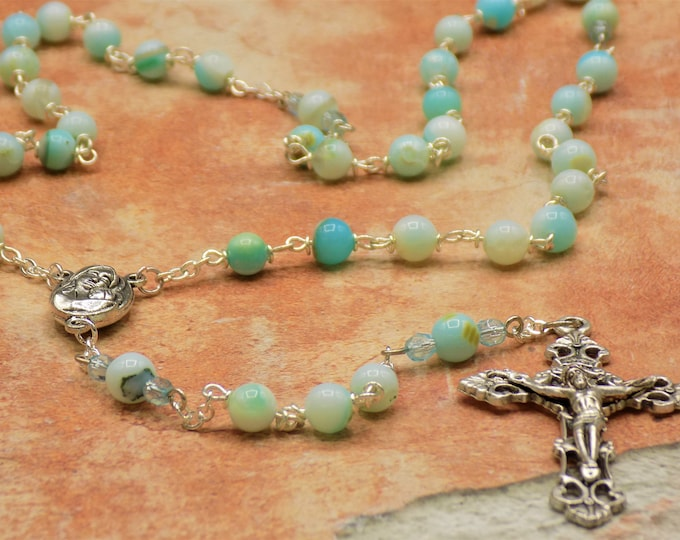 Blue Opal Rosary - Semi Precious Blue Opal 6mm Round Beads - Italian Mary with Earth from Jerusalem Center -Italian Silver Filigree Crucifix