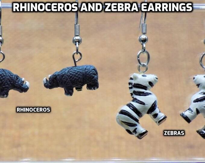 Rhinoceros  & Zebra 3D Earrings