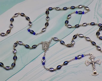 Czech Blue/Violet/Silver Rosary - Czech Blue/Violet & Half Silver Beads - Medjugorje Center - Soil from the Catacombs in Italy Crucifix