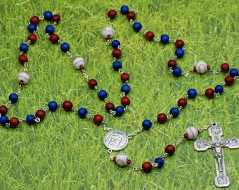 Baseball Rosaries - Red and Blue or Yellow and Black Cheesewood Beads, Ceramic Baseballs, Holy Face Center, Stations of the Cross Crucifix