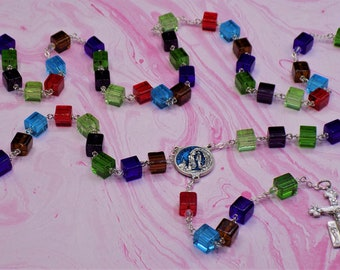 Handcut Glass Cube Rosary - Mulit Color 8mm Handcut Cube Glass Beads - Italian Our Lady of Lourdes Center - Italian Angels Crucifix