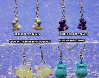Hippopotamus Earrings - Grey - Purple - Glow in the Dark - Blue Head - 4 Different Styles to Choose From