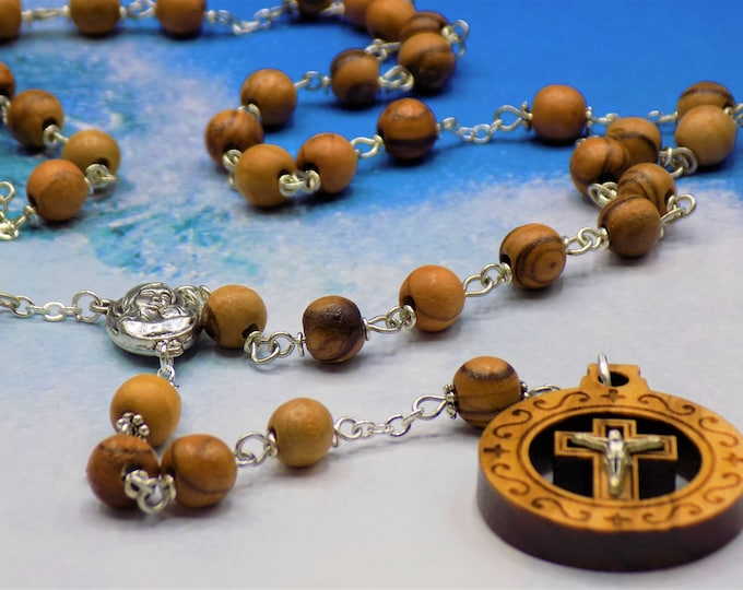 Olive Wood Rosary -Natural Olive Wood 7mm Beads - Mary and Child Center with Soil from Jerusalem - Circular Natural Wood Crucifix