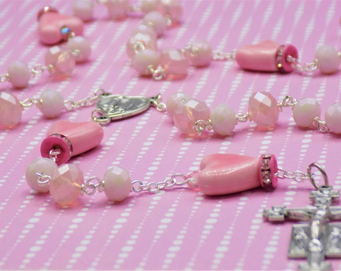 Pink Ceramic Heart Rosary - Pink Faceted Crystal Beads - Pink Heart Shape Ceramic Beads - Italian Fatima Center - Italian Sunburst Crucifix