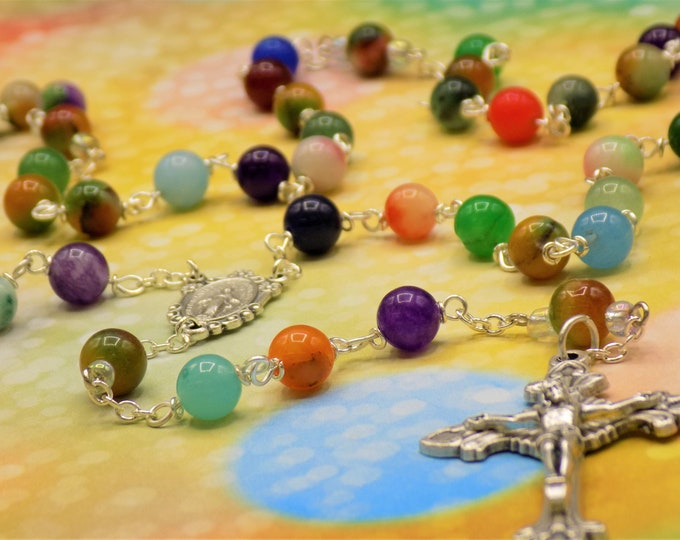 Multi Color Jade Rosary - Semi Precious Multi Color Candy Jade Beads - Italian Miraculous Mary Center - Italian Sunburst Flare Crucifix