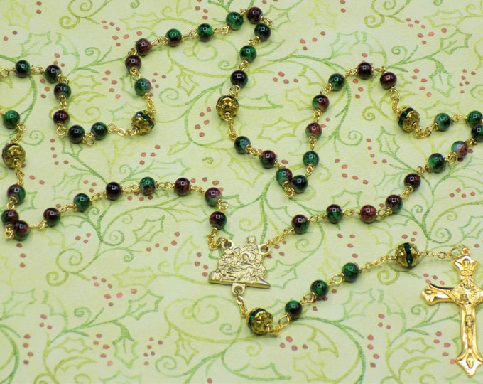 Christmas Rosary - Swirl Design Green & Red Glass Beads - Gold Rhinestone Father Beads  Italian Gold Nativity Center - Italian Gold Crucifix