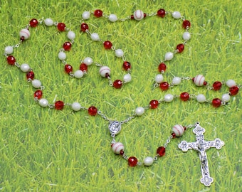 Baseball Rosaries - Czech White & Red or Black and Green Glass Beads - Ceramic Baseballs - Mary-Holy Centers - Eucharistic Crucifix