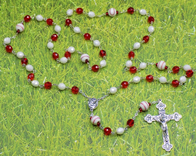 Red and White Baseball Rosary - Czech Red and White Glass Beads - Ceramic Baseballs - Mary and Child Center - Italian Eucharistic Crucifix