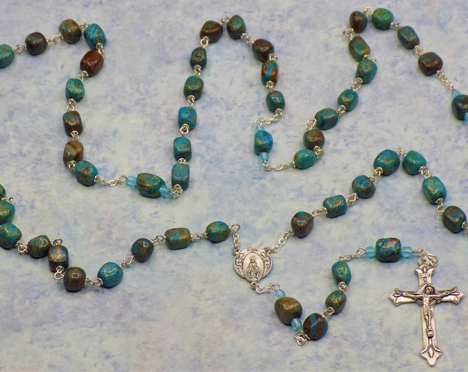 Sky Blue Jasper Rosary - Semi Precious Sky Blue Jasper Beads - Czech Blue Crystal Beads -  Italian Mary and Angels Center - Italian Crucifix