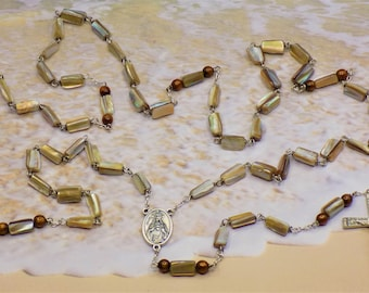 Sea Shell Rosary - Natural Brown Lip Sea Shell Beads - Gold Coral Accent Father Beads -Italian Scared Heart Center - Italian Silver Crucifix