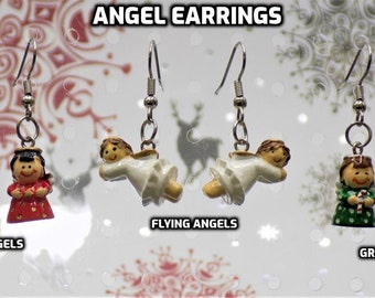 Angel Earrings - Red Angel - Flying White Angles - Green Angels - 3 Styles to Choose From