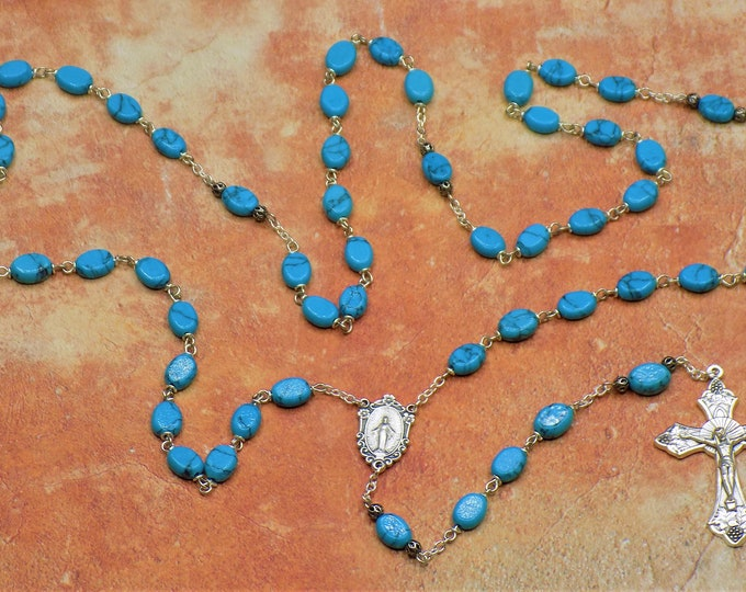 Turquoise Rosary - Semi Precious Turquoise Beads - Silver Metal Accent Beads-Italian Immaculate Mary Center-Italian Grapes and Vine Crucifix
