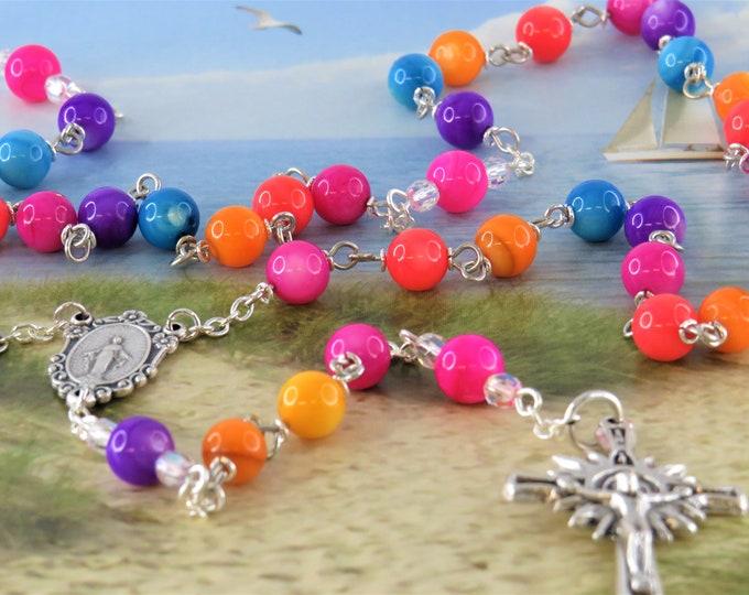 Rainbow Gemstone Rosary - Mother of Pearl Multi Color Gemstone Beads - Italian Mary Miraculous Center - Italian Silver Sunburst Crucifix