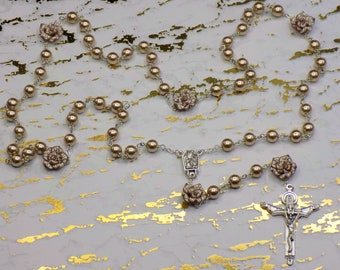 Pearl & Flower Rosaries - Mocha or Orange Glass Pearl Beads - Polymer Clay Flower Beads - Italian Lourdes Water Centers - Italian Crucifixes