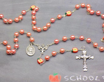Teacher Rosaries - Pink Pearls or Fuchsia Glass Beads - Apple Beads - Italian Centers - Italian Crucifixes - St John Baptist DL Salle Medals