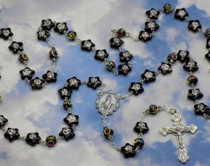 Porcelain Star With Sun Rosary -  Porcelain Star With Sun Beads - Ladhaki Color Beads - Italian Fatima Center - Italian Eucharistic Crucifix