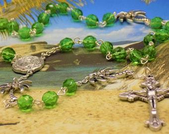 Czech Green and Palm Tree Rosary - Czech Green Crystal Beads - Metal Palm Trees - Italian St. Therese Earth Center-Italian Sunburst Crucifix