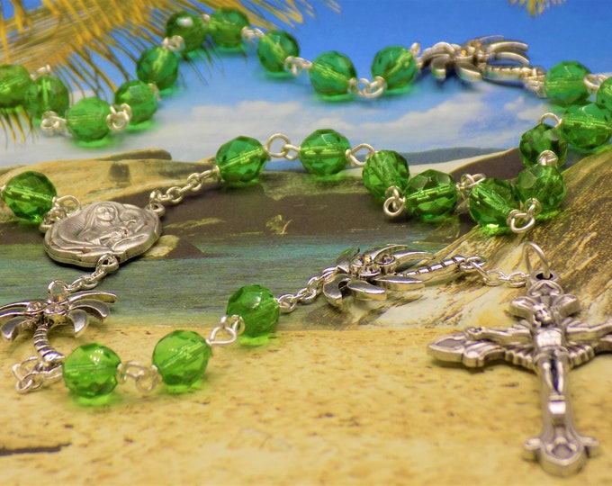 Czech Green and Palm Tree Rosary - Czech Green Crystal Beads - Metal Palm Trees - Italian St. Therese Earth Center-Italian Sunburst Crucifix