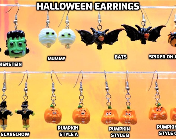 Halloween Earrings - Frankenstein, Mummy, Bats, Scarecrow, Spider and Pumpkins (3 Different Faces)