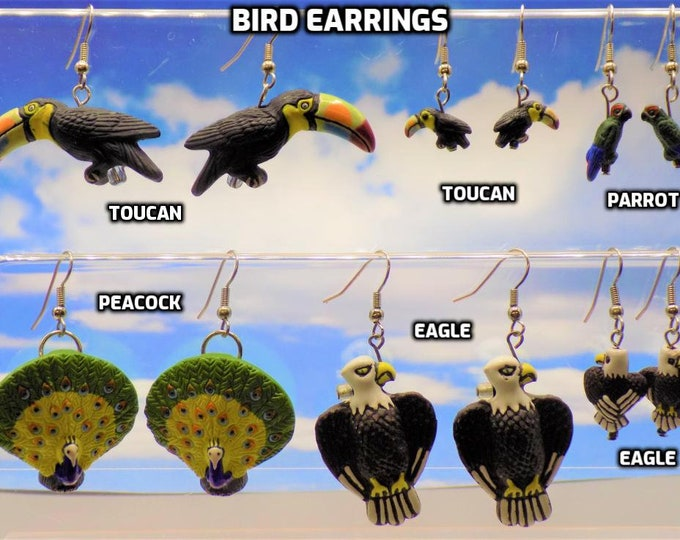 Bird Earrings - Toucan (2 Sizes) - Parrot (2)  - Peacock - Gold Bald Eagle - Bald Eagle (2 Sizes) - 9 Different to Choose From